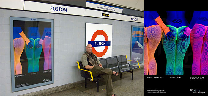 3 UV Bums - photograph exhibited on London railway station